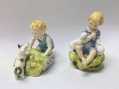 2 Royal Worcester figurines with Puce mark modelle
