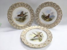 Three Royal Worcester cabinet plates with hand pai