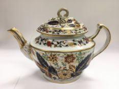 An early Chamberlains Worcester teapot with red, b