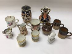 A small collection of Miniature porcelain and pott