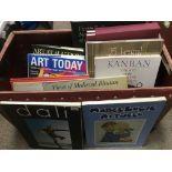 A box of art books.