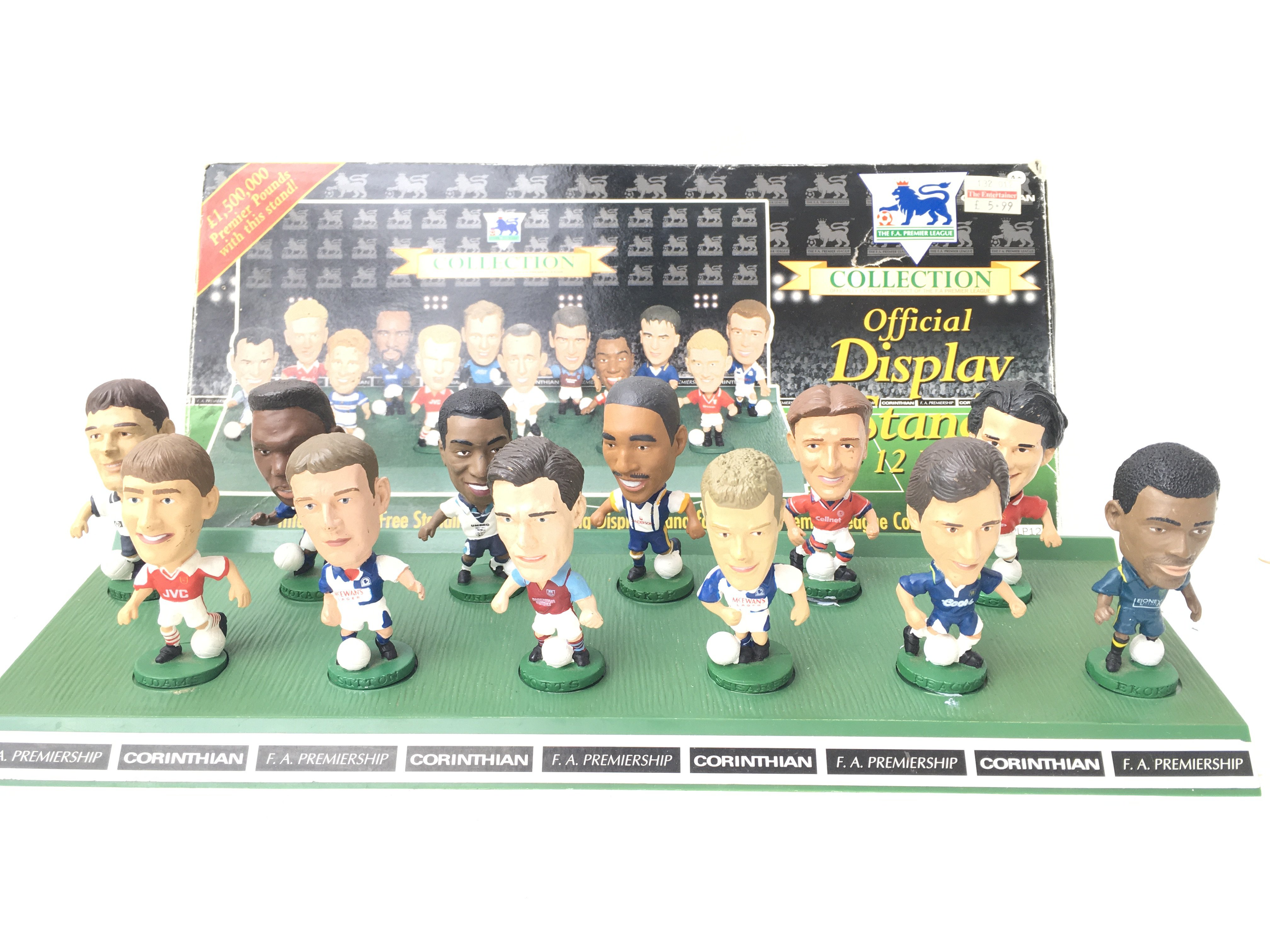 A Boxed Corinthian F.A Football collection Display Stand with Figures.