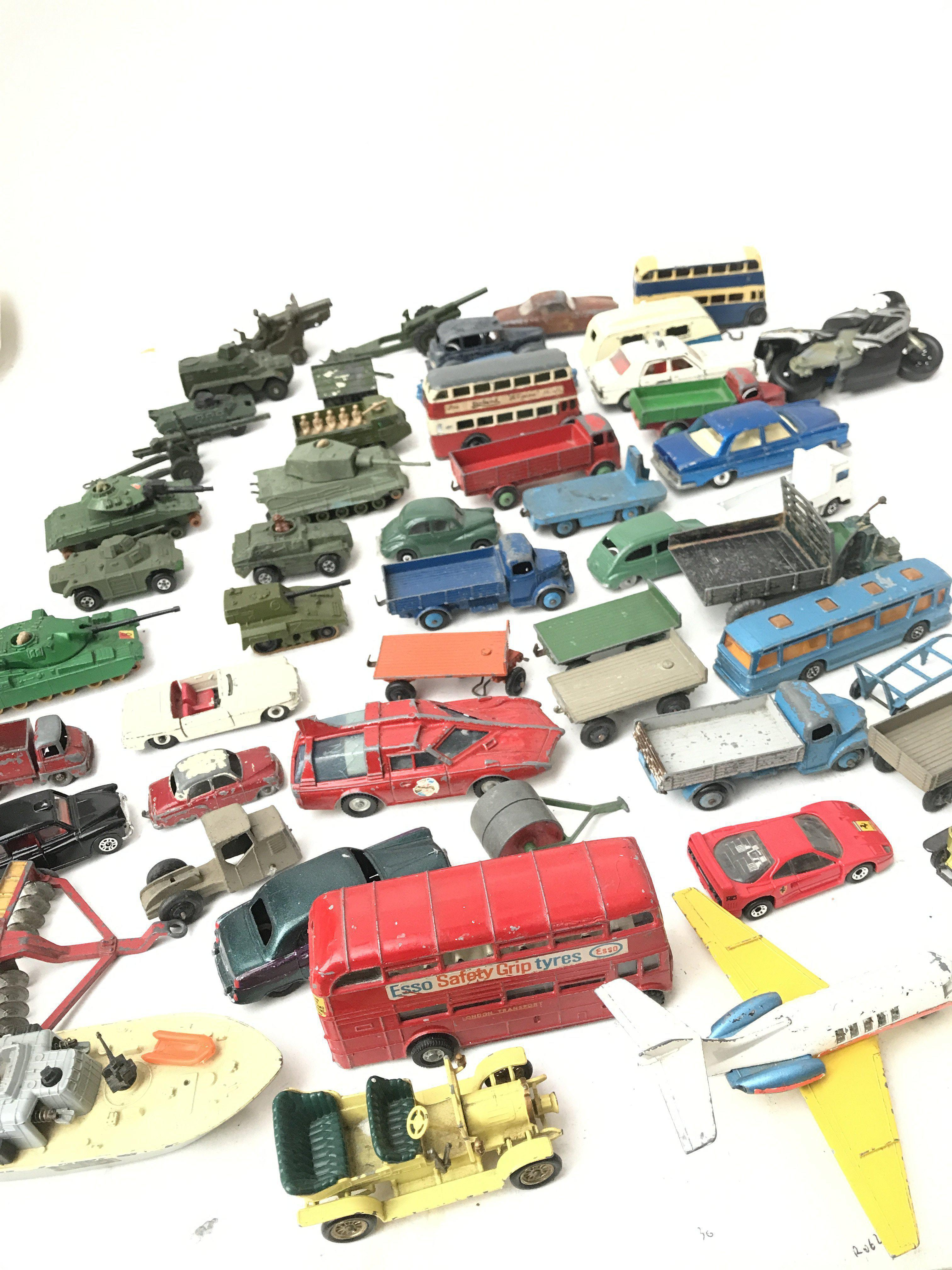 A Box Containing a Collection of Playworn Military Diecast. And Others Including Dinky.Matchbox