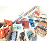 A Box Containing Various Toys/ parts etc including a Tin Plate Quiz. Action Man Accessories. Die-