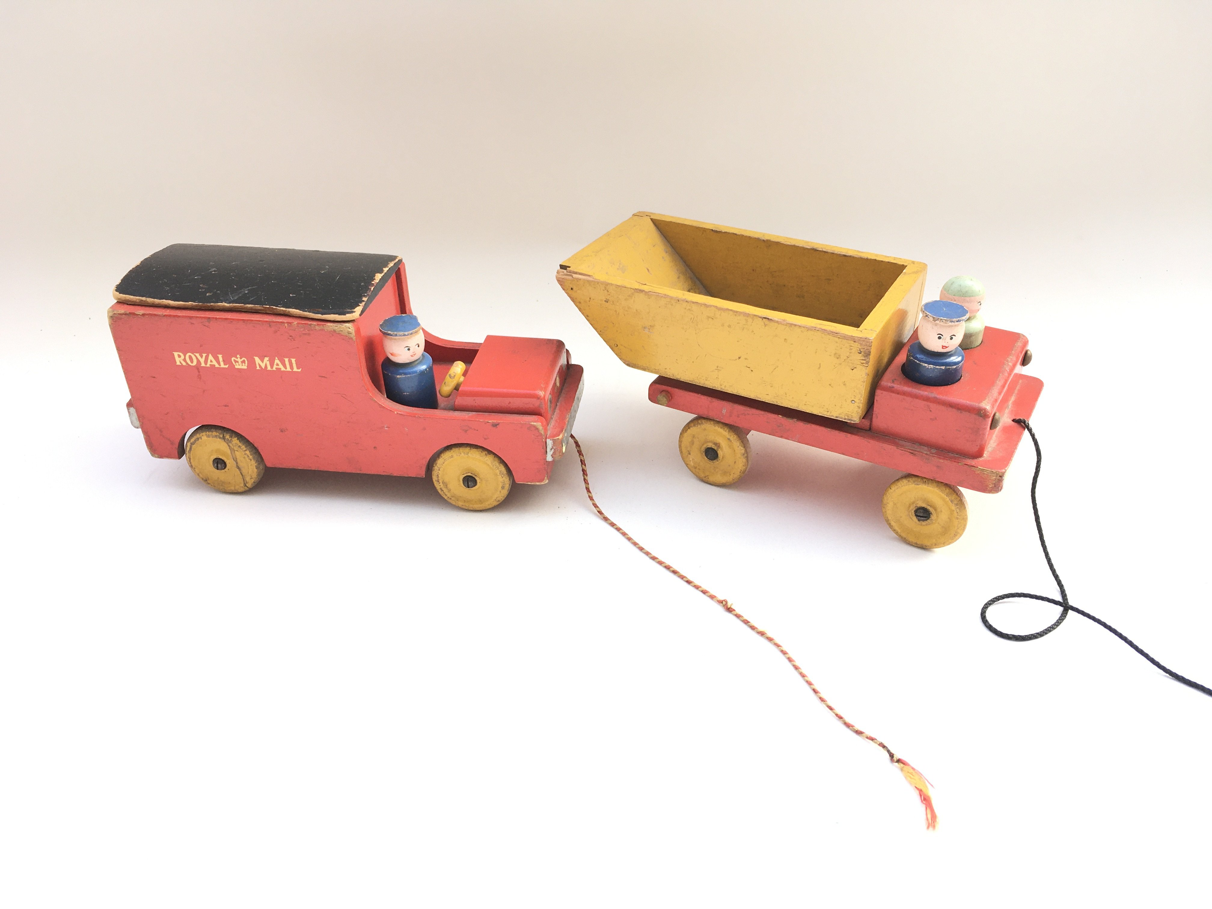 Early vintage wooden Royal Mail van and lorry.