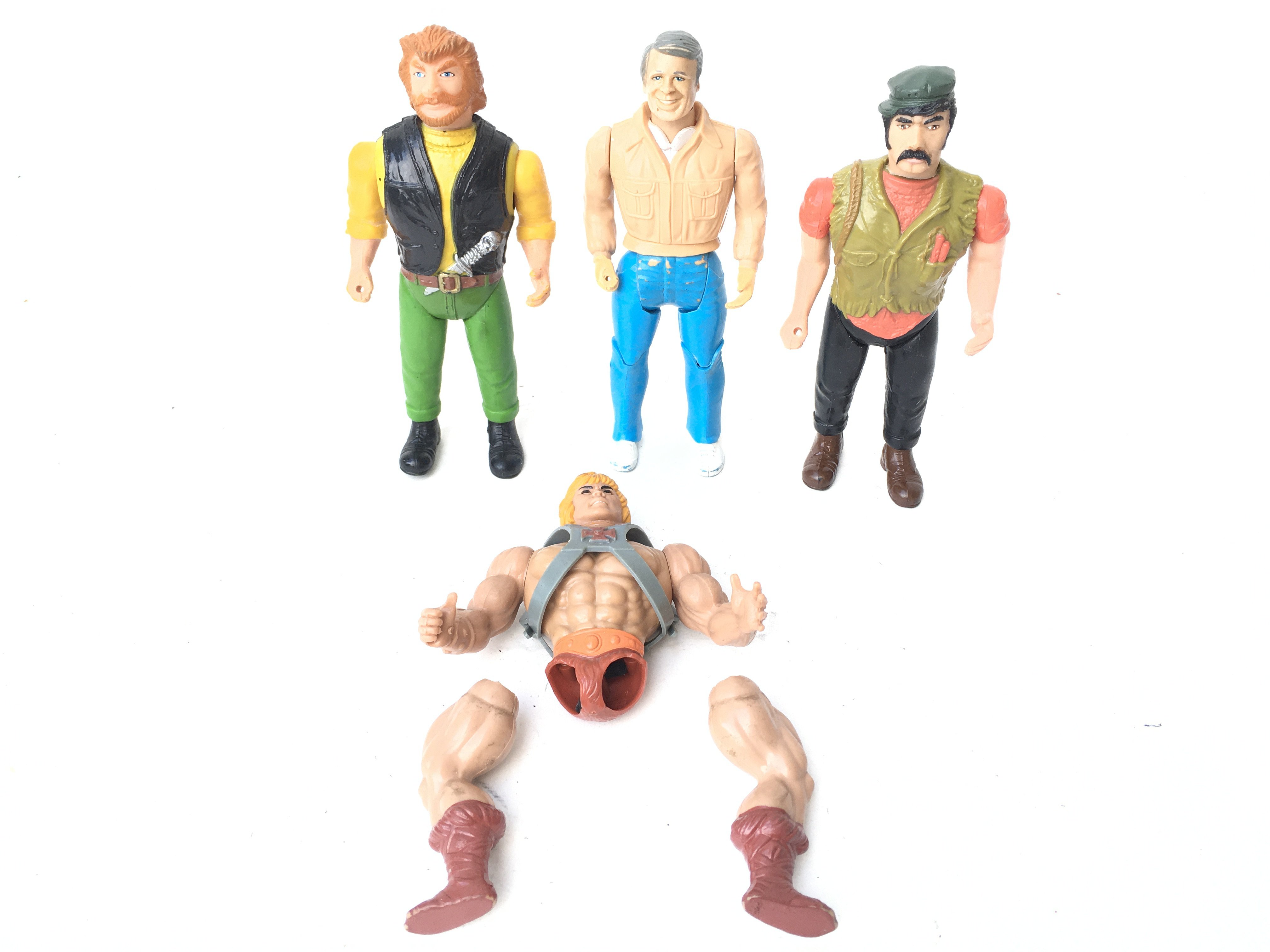 3 X The A-Team Figures and a Broken He-Man Figure.