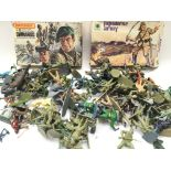 A Box Containing a Collection of Plastic Toy Soldi
