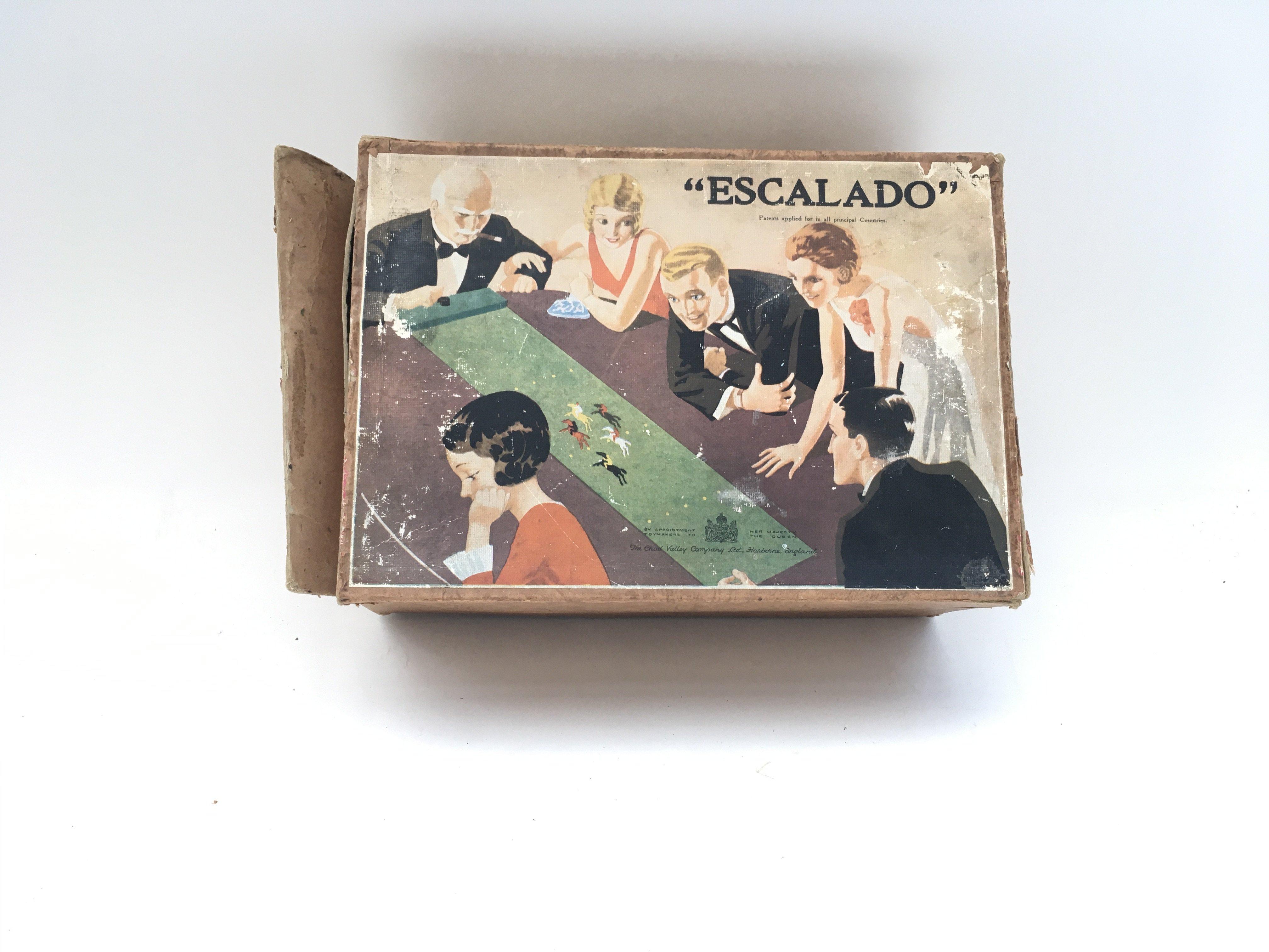 Antique Chad valley Escalado vintage horse racing game. 1930's image cover.