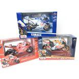 3 X Boxed Maisto Bikes Including Yamaha 2009.Ducati Desmosedici. And Repsol Honda Team.(3).