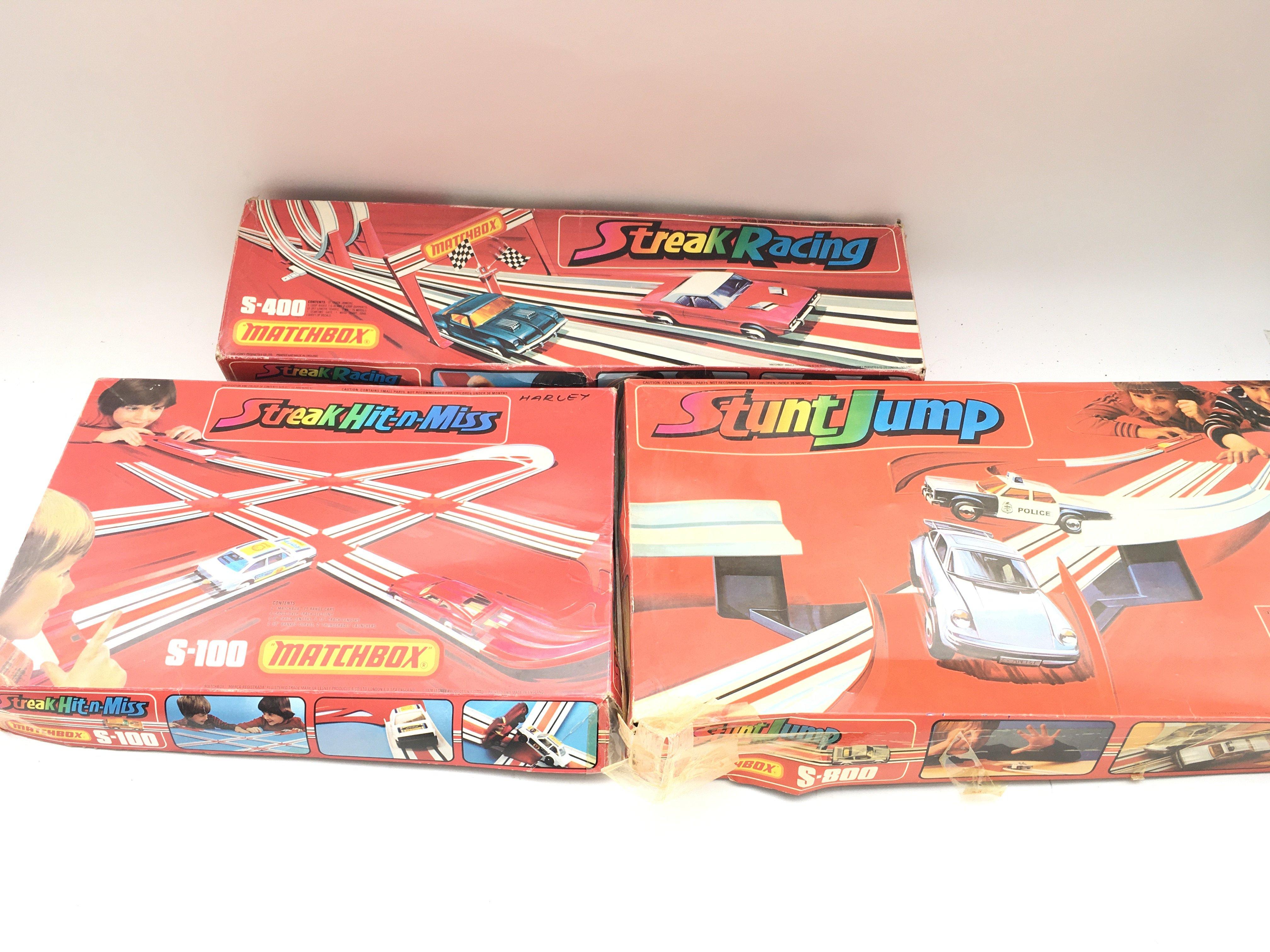 Collection of vintage matchbox tracks. Streak racing. Stunt jump. Streak hit n miss.