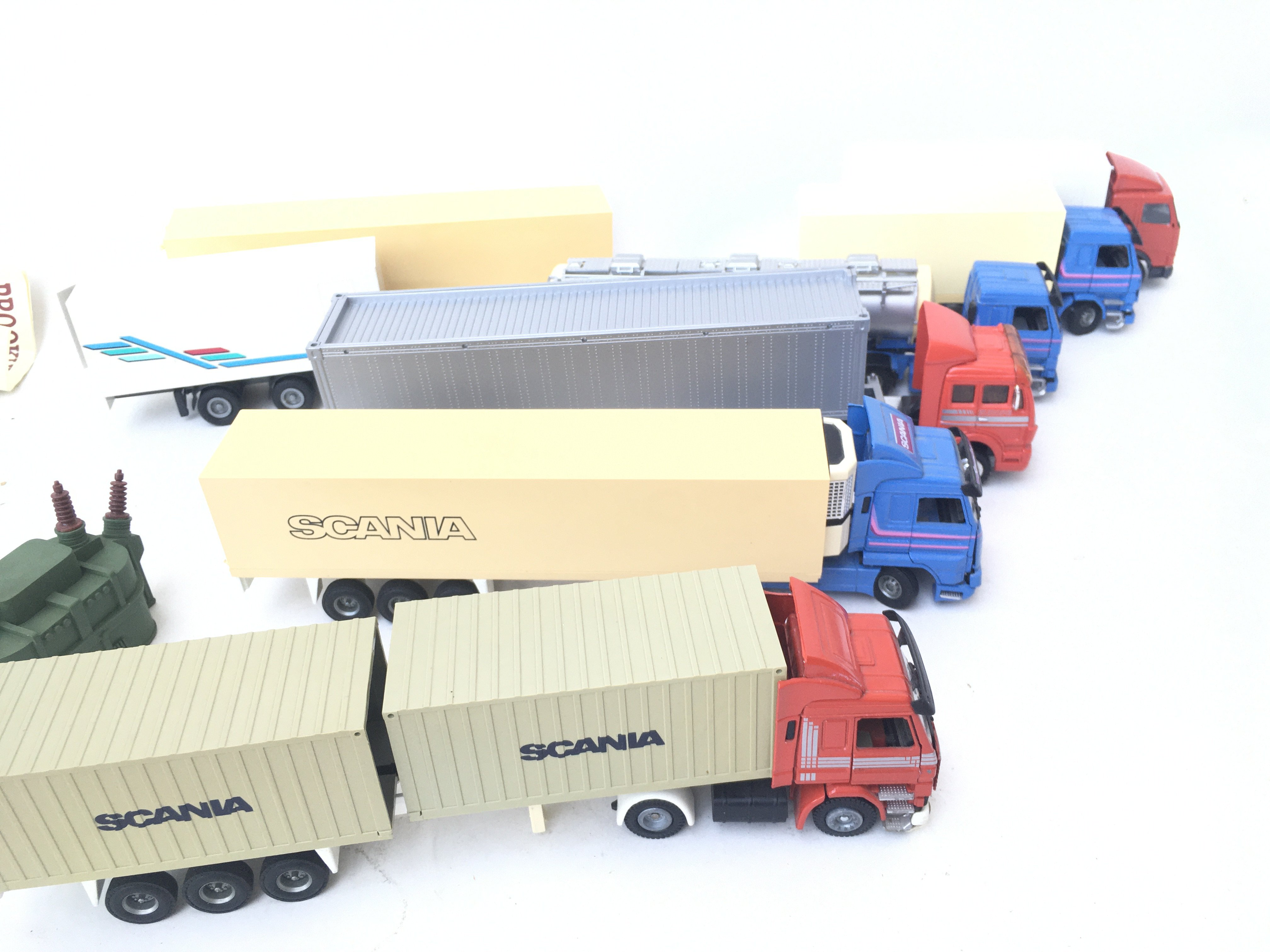 A Box Containing Model Lorry's and Trailers.