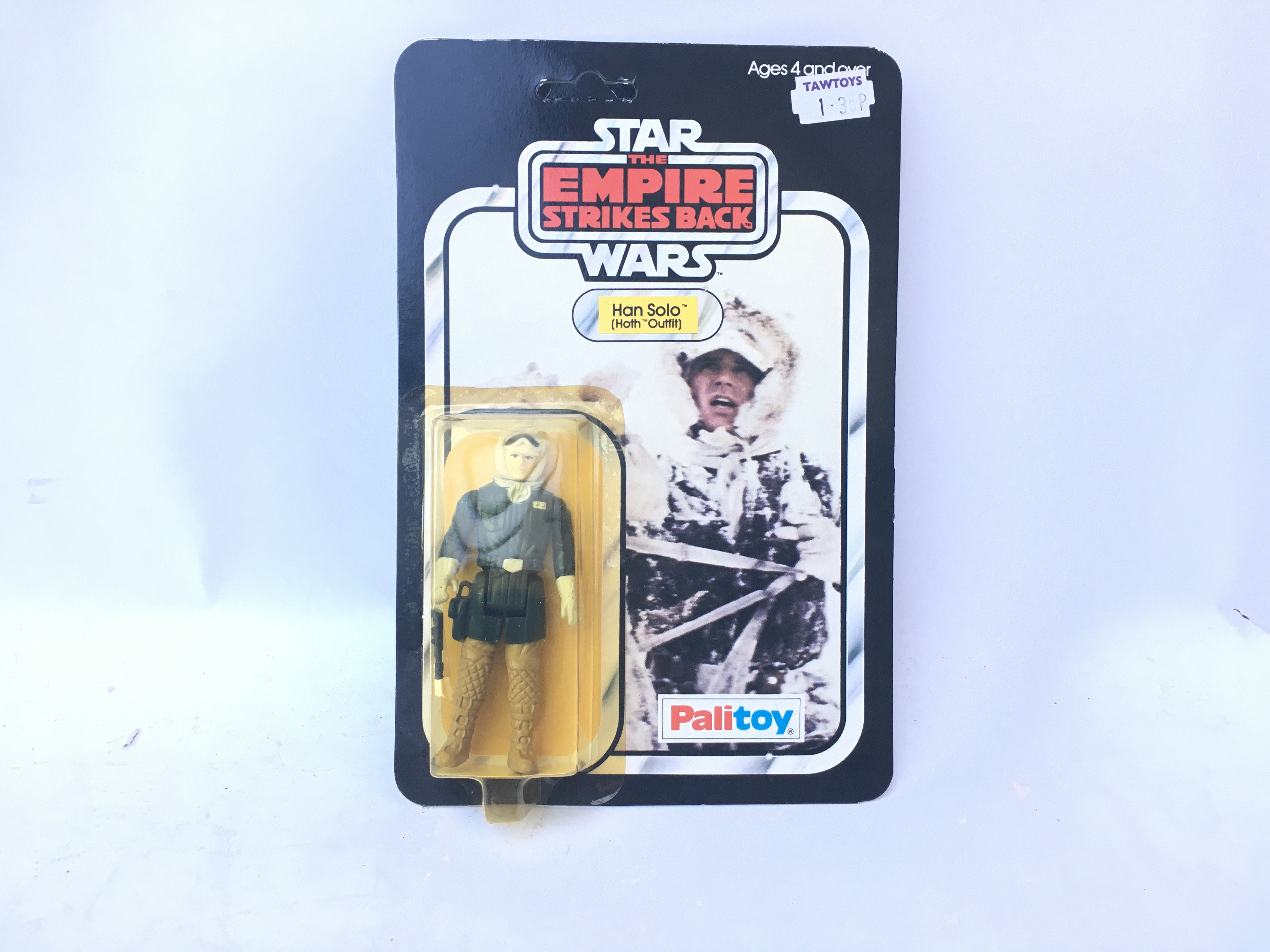A Vintage Star Wars Empire Stokes Back Carded Han Solo (Hoth) carded.