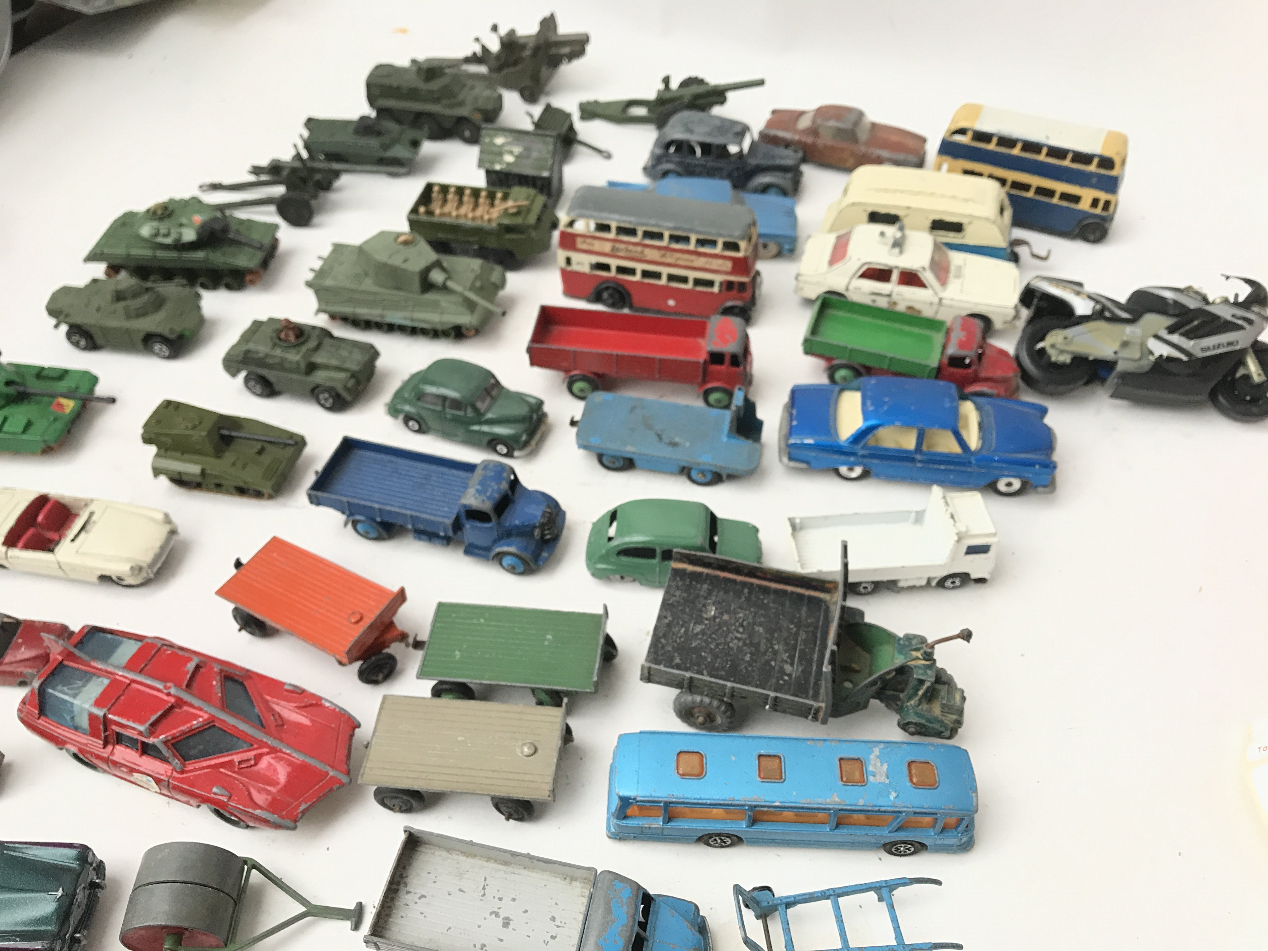 A Box Containing a Collection of Playworn Military Diecast. And Others Including Dinky.Matchbox - Image 3 of 4