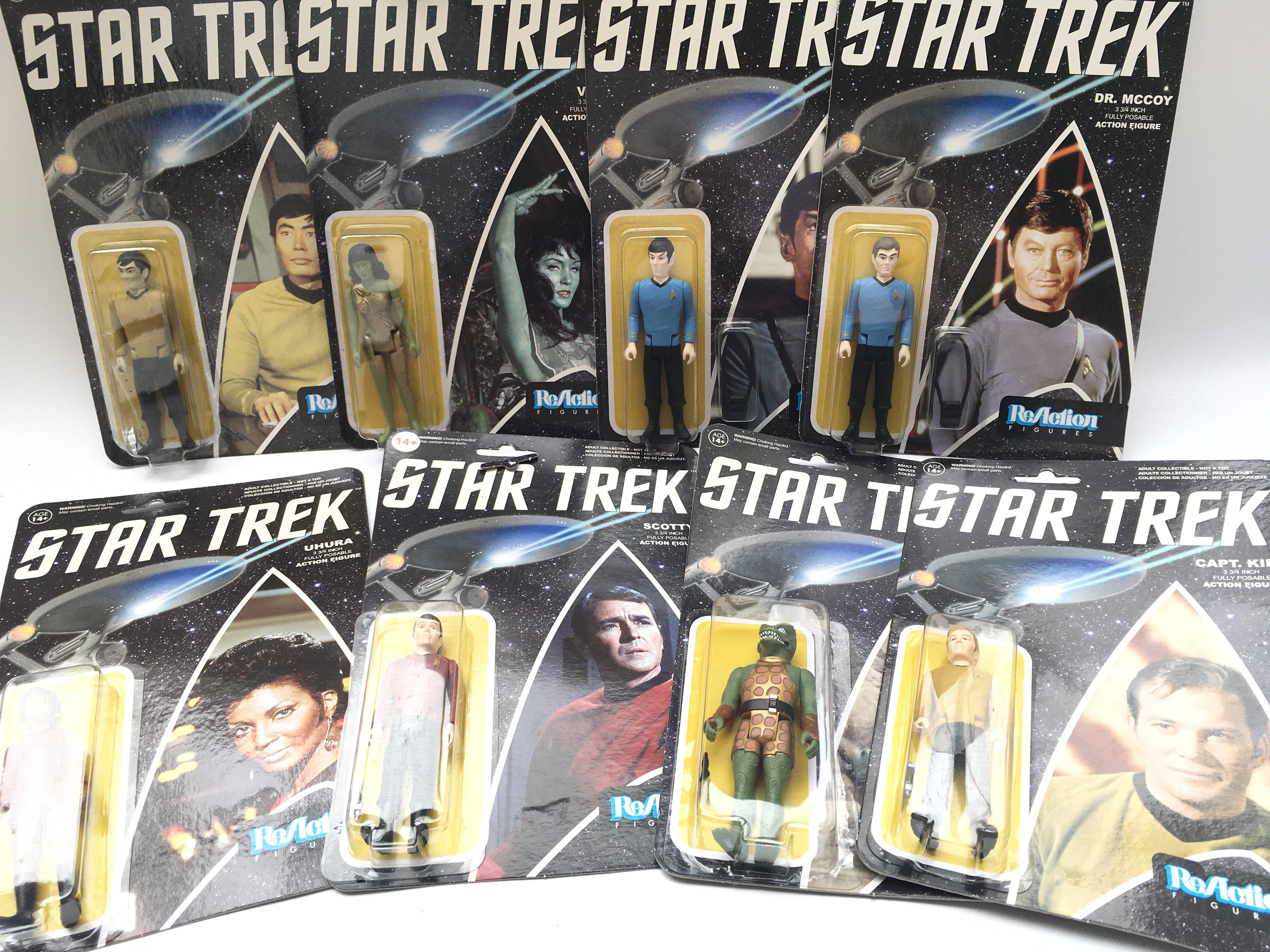 A Collection of ReAction Star Trek Figures. Includ