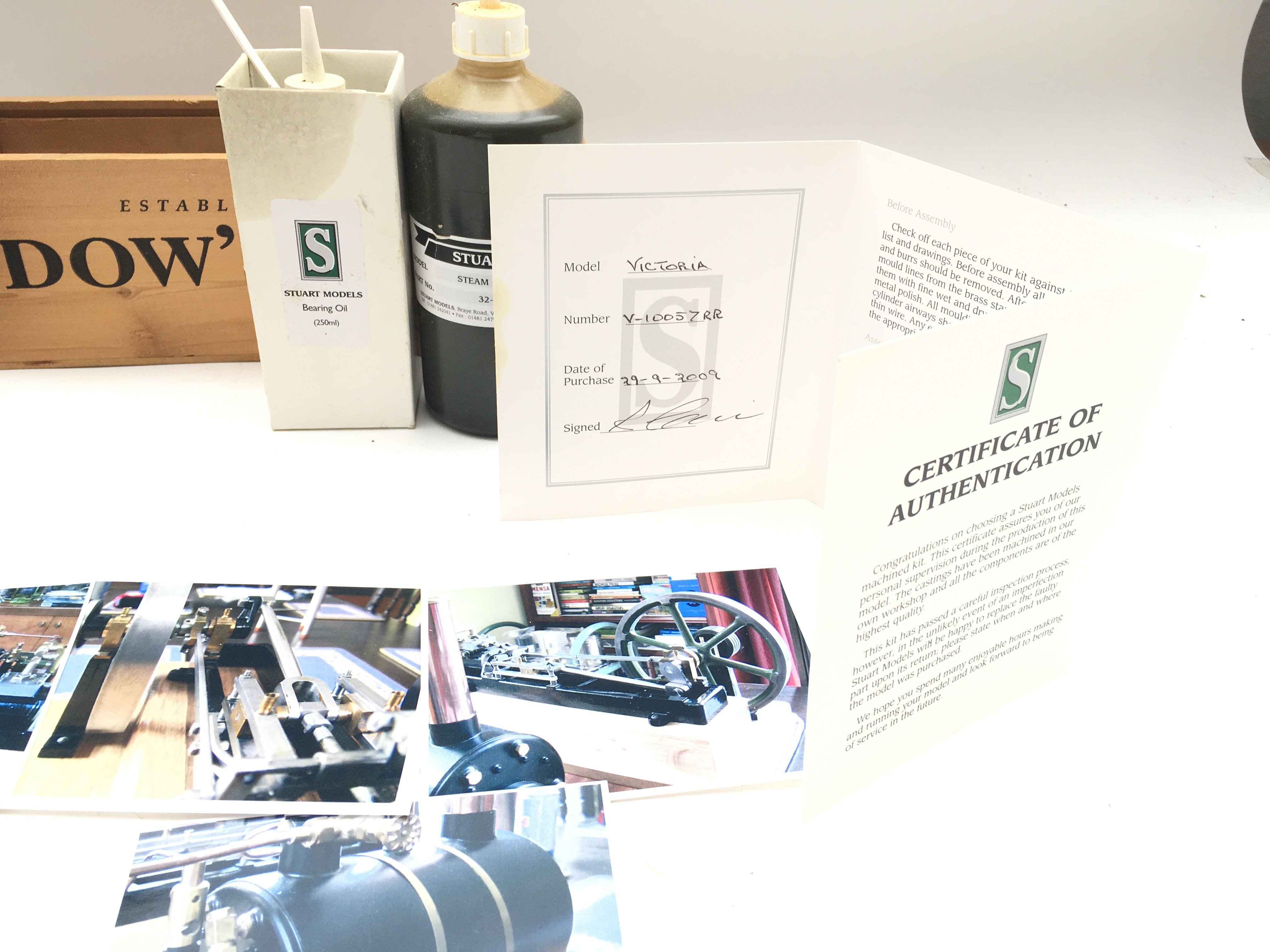 A Stuart Models Steam Engine including Feed Pump & Reservoir. Includes oils and certificate of - Image 4 of 5