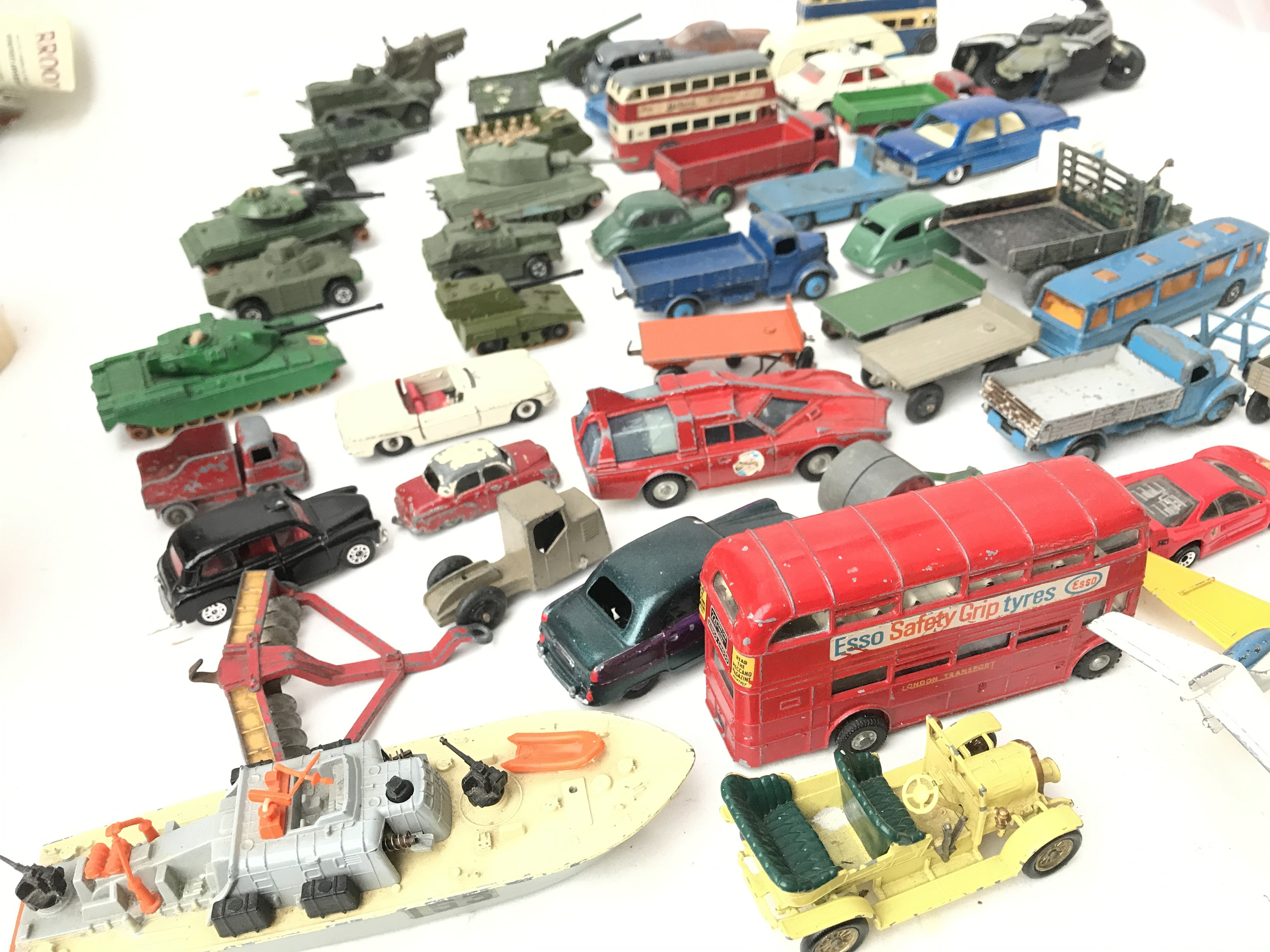 A Box Containing a Collection of Playworn Military Diecast. And Others Including Dinky.Matchbox - Image 2 of 4