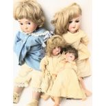 4 Porcelain head Dolls including 3 Victorian and 1 Later.