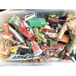 A Box Containing a Large Collection of Playworn Die-Cast and a Action Man.