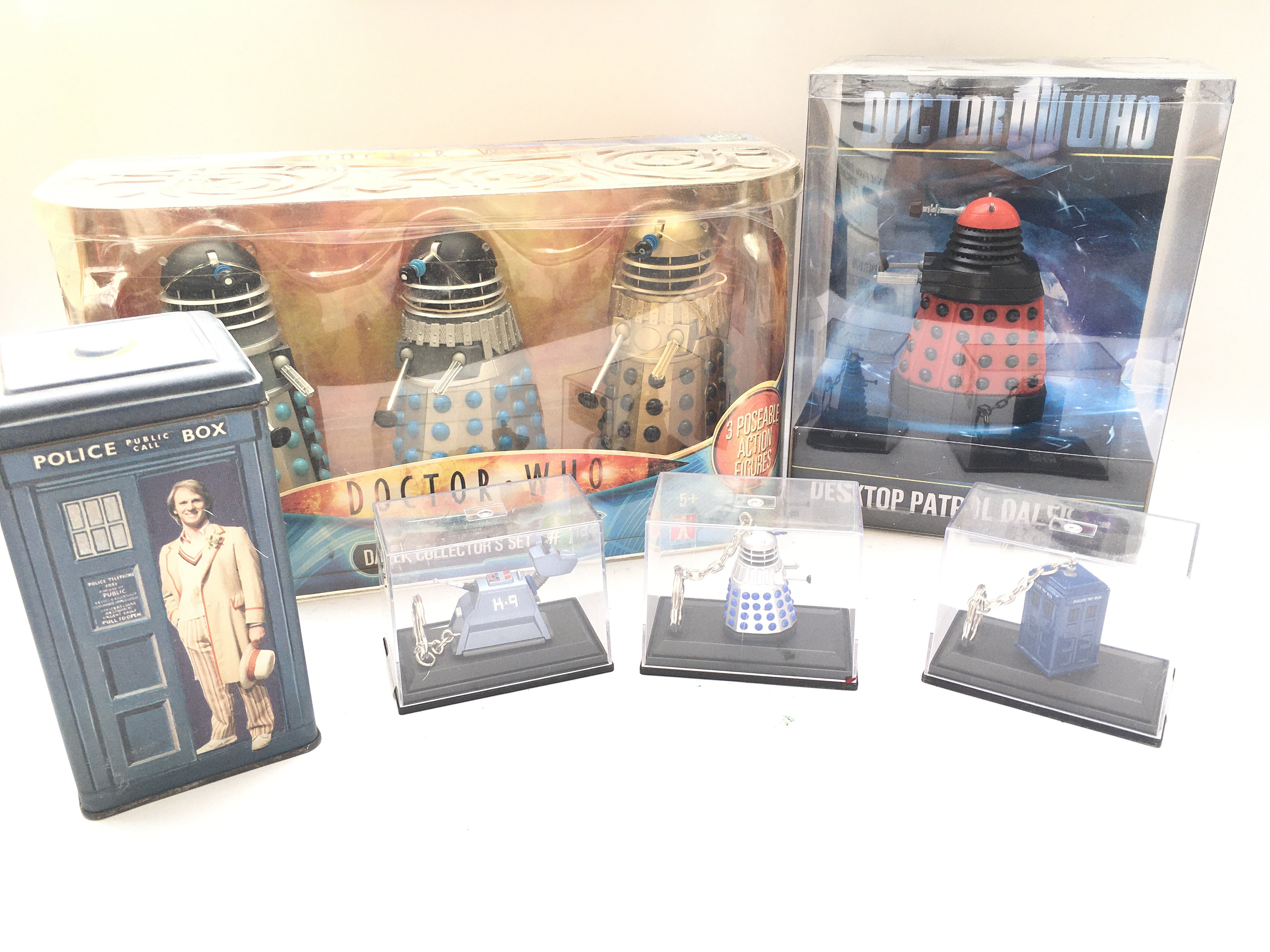 A Collection of Doctor who Boxed Key rings. A Dale