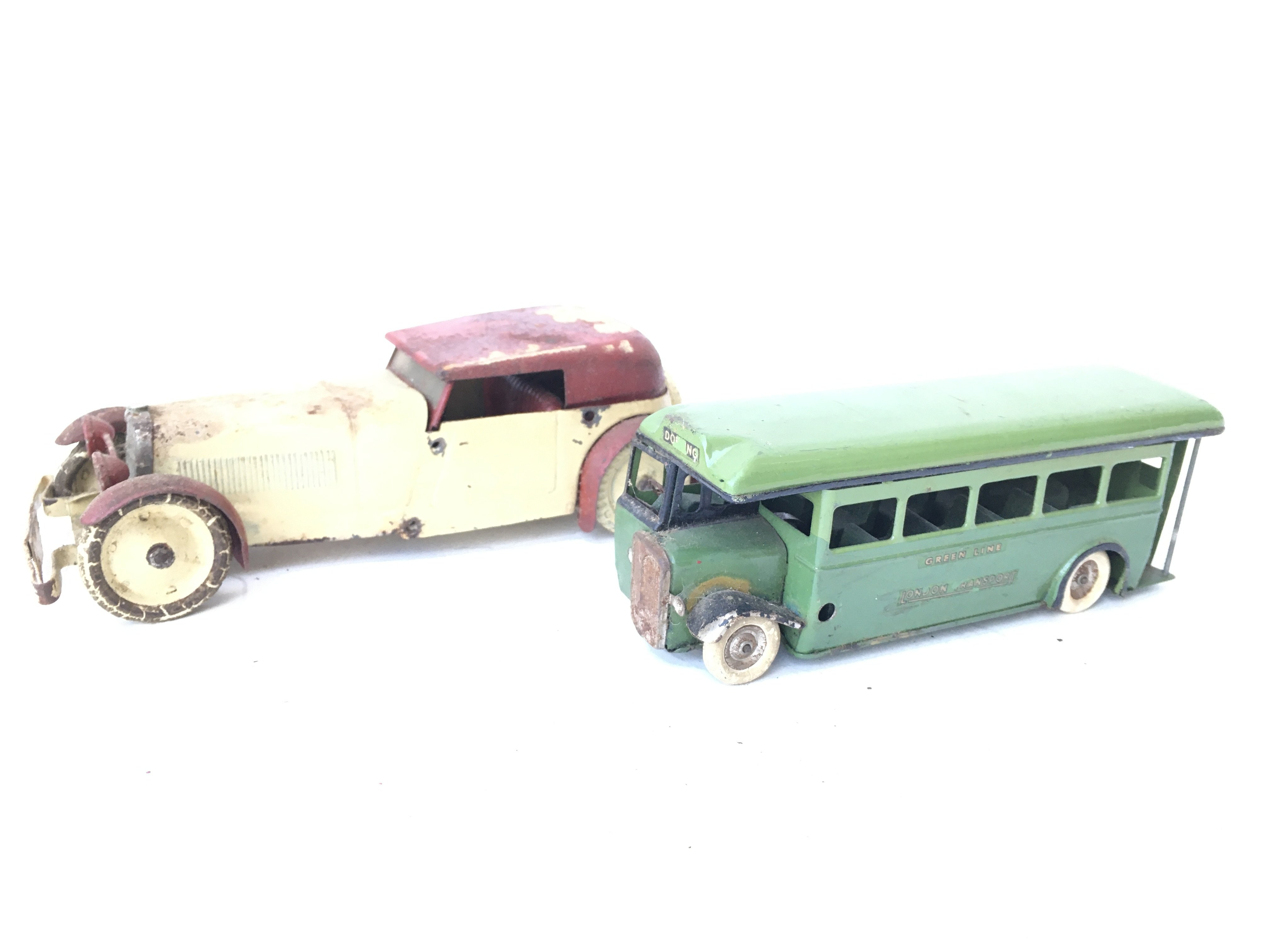 A Tri-Ang Minic Toys Green Line Bus and a Tin Plat - Image 2 of 2