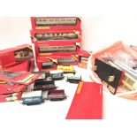 A Box Containing a Collection Of Hornby Coaches and accessories.
