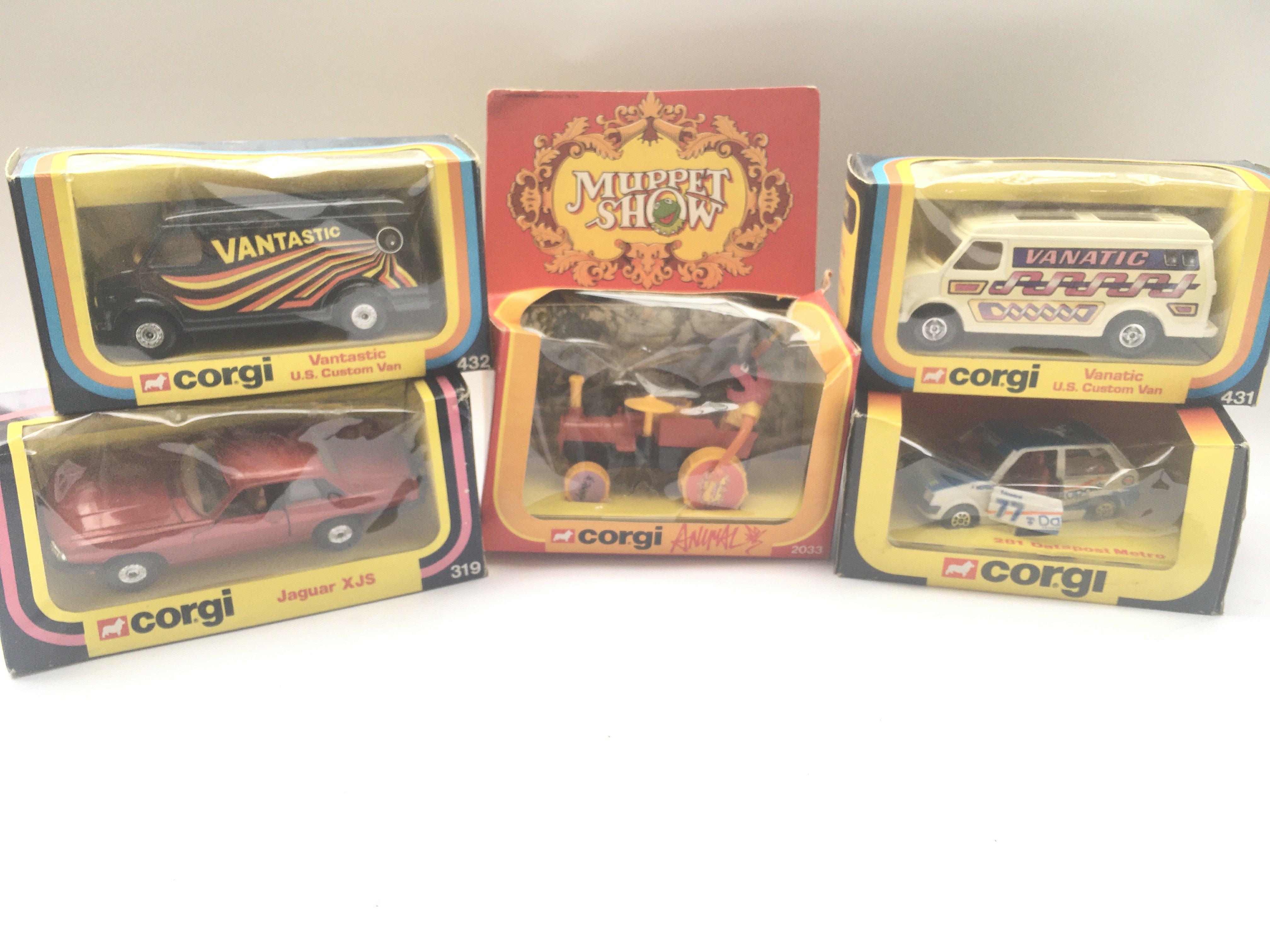 5 boxed Corgi vehicles including Animal #2033 Jagu
