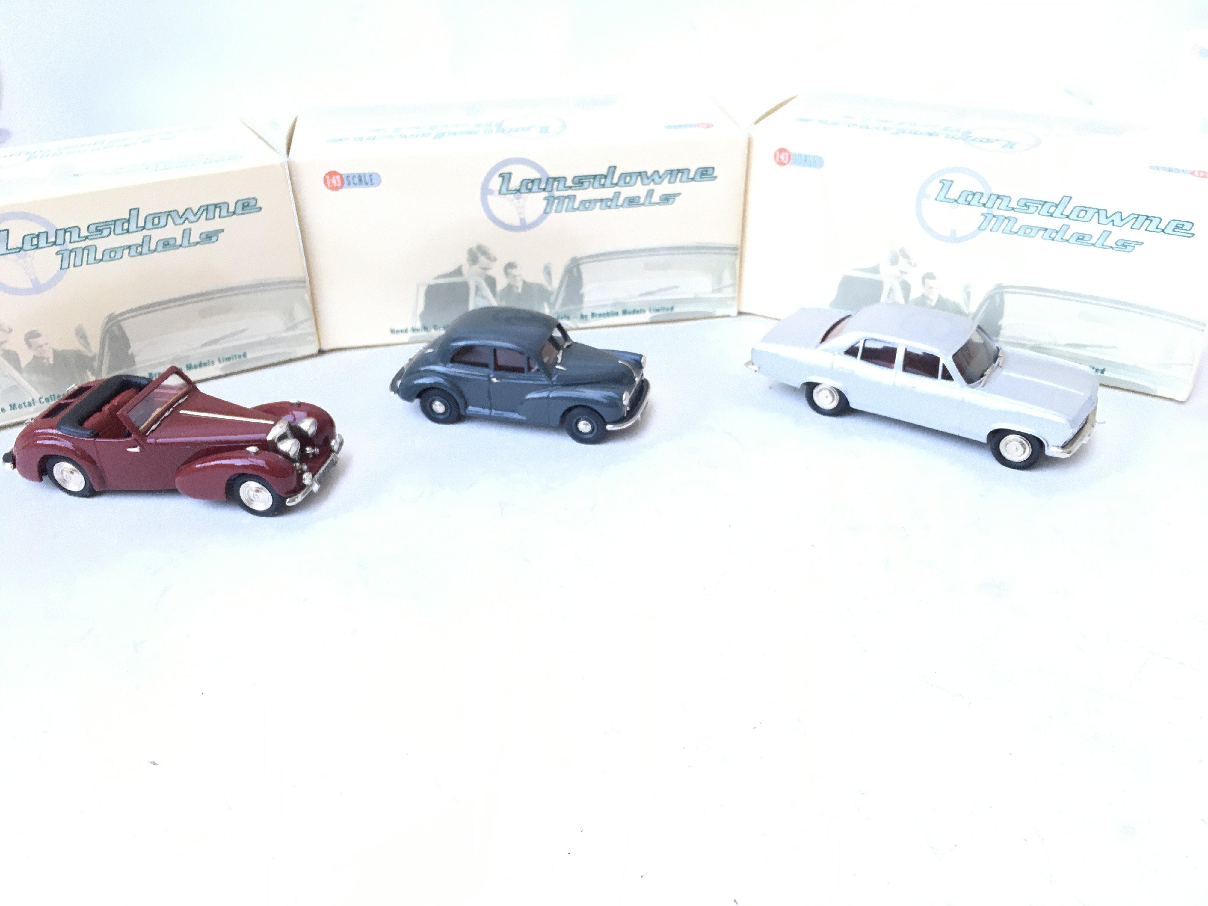3 X Lansdowne Models including LDM 36 1952 Morris Minor Series II. LDM 37 1949 Triumph 2000 Roadster