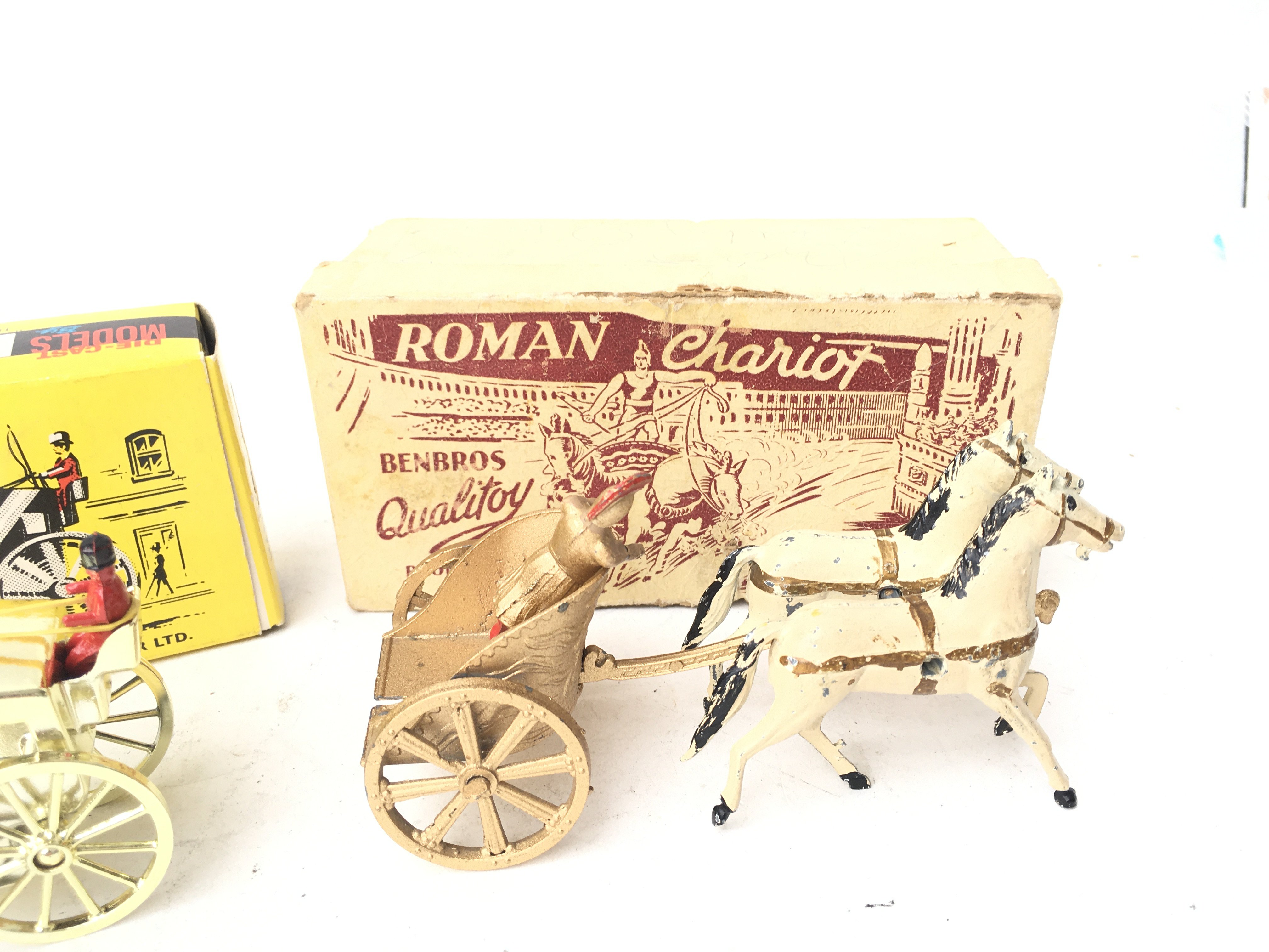 A Boxed Budgie Hanson Cab and a BenBros Boxed Roman Chariot. - Image 3 of 3
