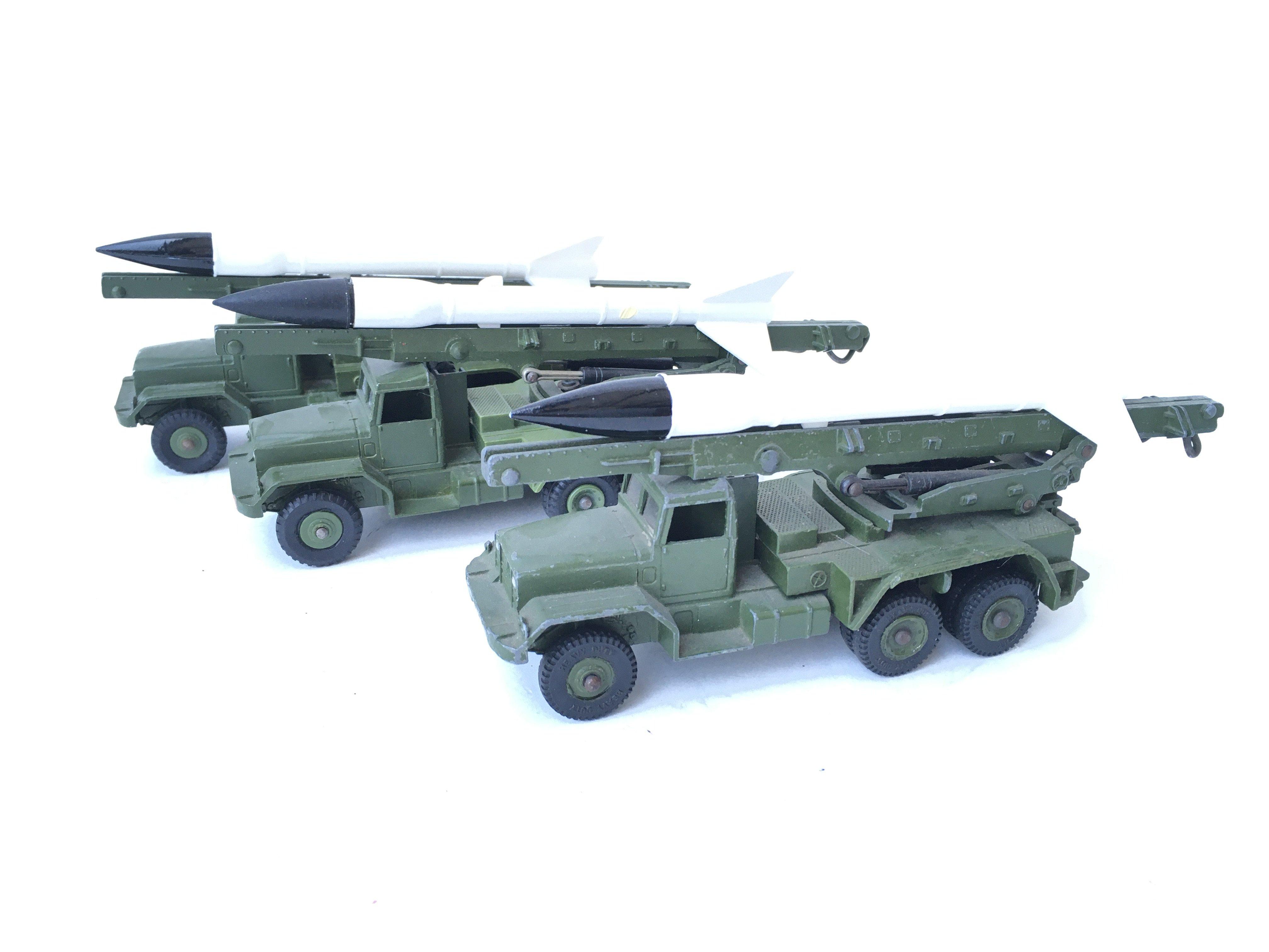 3 X Dinky Supertoys Honest John Rocket Launchers.