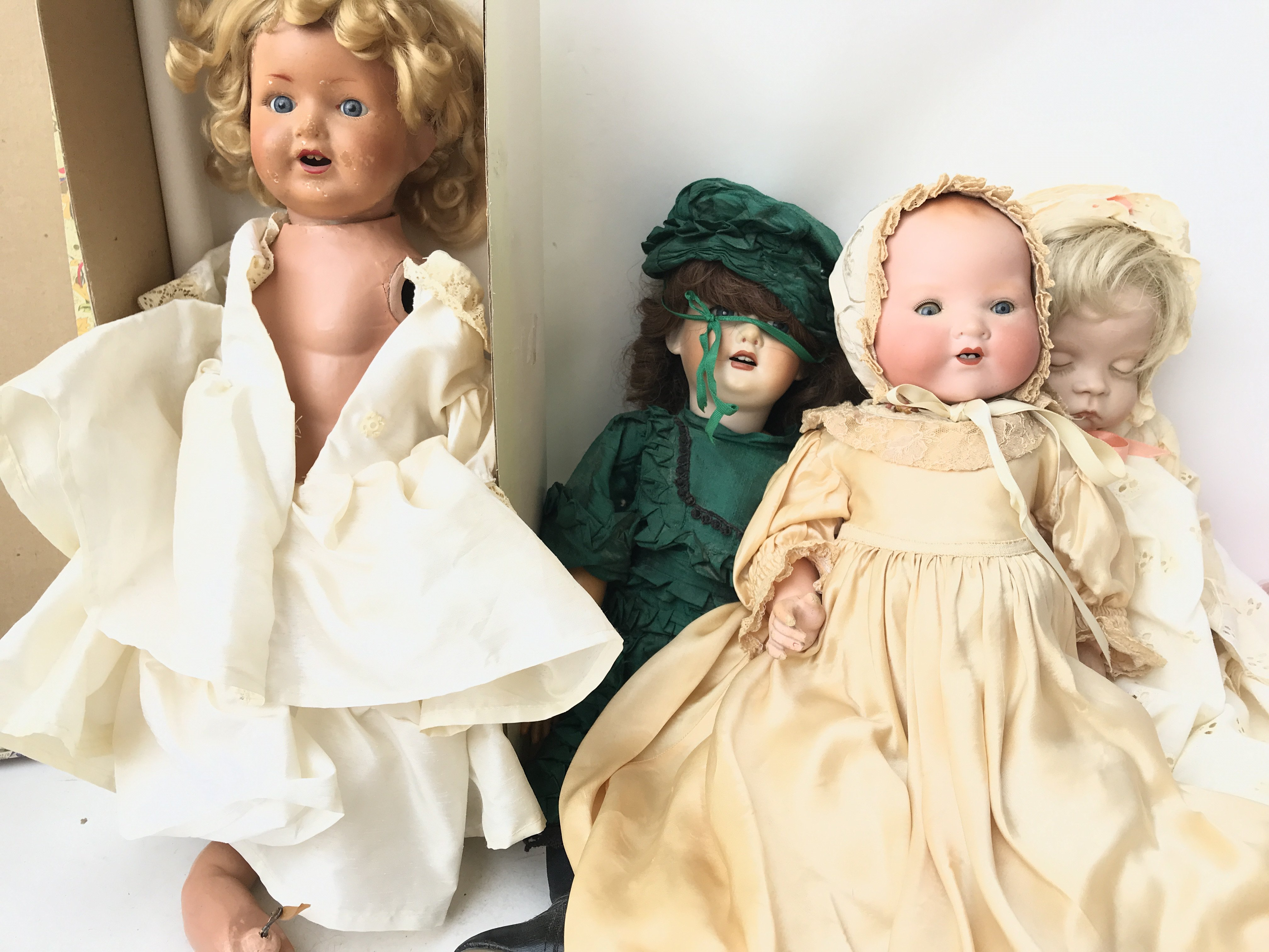 A A and M Doll in a Child Gown and 3 Others A/F.