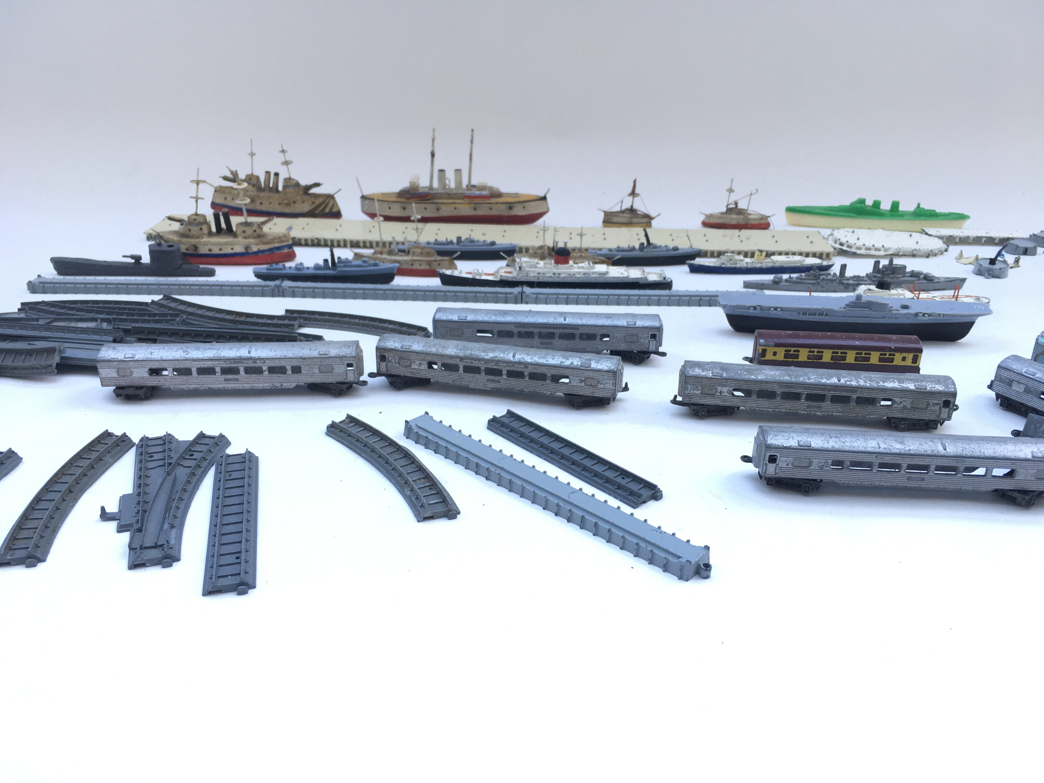 Large collection of playworn toys including lone star locco- Triang ships. - Image 3 of 4