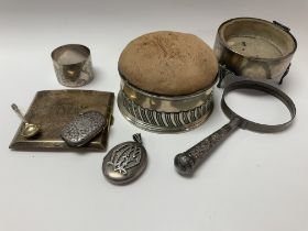 A collection of hallmarked silver items including