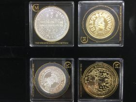 Four silver and gold plated proof coins from the Millionaires collection with COA ps comprising