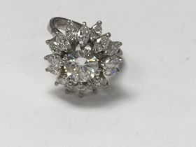 An 18 ct white gold ring with central diamond 1.7