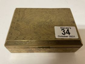 A small Chinese brass bound trinket box and conten