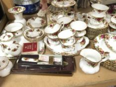 An Extensive Royal Albert Old dinner and tea set a six place setting with very many extras plates