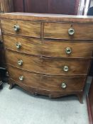 A mahogany Victorian chest drawers fitted with two short and three drawers on splayed feet .