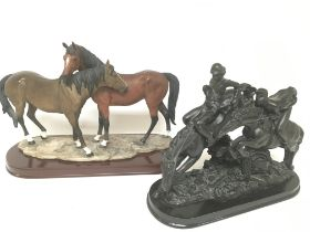 Two equestrian figure groups on oval hardwood bases. (2) - NO RESERVE