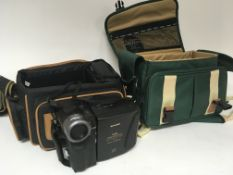 A collection of camera equipment camera bags accessories including a Sharp viewcam Hi-Fi VL-H400 and