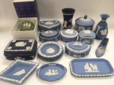 A collection of Wedgwood jasperware items.