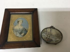 An framed 19th century miniature of the young quee