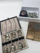 Cased silver plate spoons, necklaces, a cameo brooch and a vintage compact - NO RESERVE