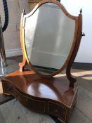 A Georgian mahogany toilet mirror the of shield sh