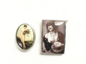 A reproduction vesta case and a pill box (2).