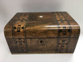 An inlaid writing box, approx 30cm x 15cm x 23.5cm