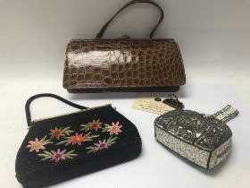 Three vintage bags - two beaded bags and one suede lined mink crocodile bag from Bally with original