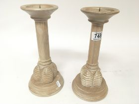 A pair of modern design limed oak candle sticks by Kennith Turner of London Hight 29cm - NO RESERVE