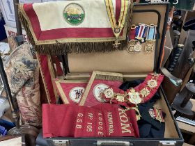 Royal order of the Buffalos ceremonial sash, cuffs and medals - NO RESERVE