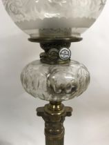 A Victorian Williams Bach oil lamp with glass shad