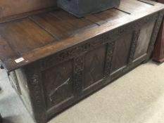 An 18th century English carved oak and panelled ch
